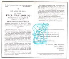 DP Paul Van Mello ° Schendelbeke Geraardsbergen 1895 † 1964 X Maria G. De Vincke / Stecke Wese - Andachtsbilder