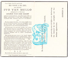 DP Ivo Van Mello ° Schendelbeke Geraardsbergen 1913 † 1948 X Angèle Van Der Gucht / Andries De Vulder - Andachtsbilder