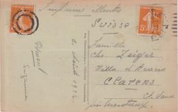 FRANCE : CP . AFFrt AVEC 2 EX . 5 Cts ORANGE . TYPE SEMEUSE . IMPRIME POUR LA SUISSE . DONT UN OBL DE FORTUNE . 1922 . - 1921-1960: Période Moderne