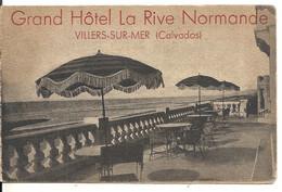 GRAND HOTEL LA RIVE NORMANDE. CARTE DOUBLE PUBLICITAIRE - Villers Sur Mer