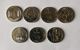 Lot Pièces De 1 Franc 1988-1989-1992-1992-1995-1996-1999 - K. 10 Francs