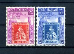 1951 REP. IT. SET MNH ** Centenario Primi Francobolli Di Toscana - 1946-60: Nieuw/plakker
