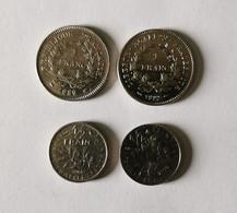 Lot De 2 Pièces De 1 Franc 1989-1992 Et 2 Pièces De 1/2 Franc (50 Centime) 1965-2000 - K. 10 Francs
