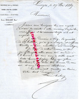 87- LIMOGES- RARE LETTRE MANUSCRITE SIGNEE LOUIS HALARY- MINOTERIE DE LA PERDRIX-1869 MINOTIER - Artesanos