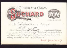 1900 Besuchsanzeige Der Firma Suchard, Chocolat + Cacao, Neuchatel. Postalisch Gelaufen Aus Bregenz Nach Glarus - Anuncios