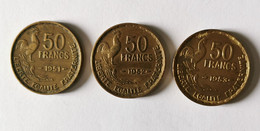 Lot De 3 Pièces De 50 Francs Guiraud 1951-1952-1953 - K. 10 Franchi