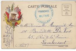 Carte De Franchise Militaire Cachet Compagnie De Sapeurs Ouvriers Du Génie ANGOULEME 1915 - Military Service Stampless