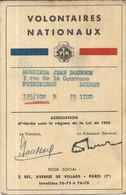 VOLONTAIRES NATIONAUX . 1936 . CARTE DE MEMBRE - Historische Documenten