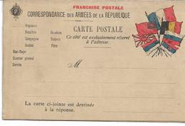 Carte De Franchise Militaire Vierge  Carte Jointe Destinée  à La Réponse - Military Service Stampless