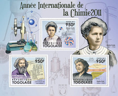 Togo 2011 MNH - International Year Of Chemistry 2011 (Marie Curie, Gerty Cori). YT 2761-2763, Mi 4293-4295 - Togo (1960-...)