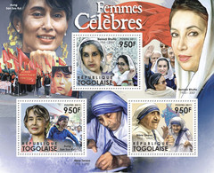 Togo 2011 MNH - Famous Women (Aung San Suu Kyi, Benazir Bhutto, Mother Teresa). YT 2743-2745, Mi 4273-4275 - Togo (1960-...)