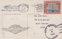 """ETATS - UNIS : PA . CP . AVEC CS DU VOL INAUGURAL . """" SALT LAKE CITY SAN DIEGO """" . SIGNEE DU MAITRE POSTE . 1930 . - Cartas"""