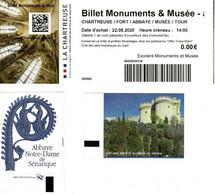 Ticket D'entrée (lot 3 Unités) -  Chartreuse , Abbaye Notre-dame De Sénanque, Fort Saint André De Villeneuve Lez Avignon - Toegangskaarten