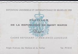 Expo '58 Pavillon De La République De Saint Marin  BAR Carte D'entrée / BAR Ingangskaart - Eintrittskarten