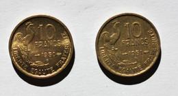 2 Pièces De 10 Francs Guiraud 1950B (TTB) -1951B (TTB) - K. 10 Franchi