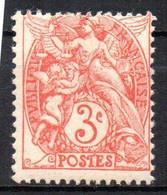 France Type Blanc N° 109 B Rouge  Neufs XX MNH - 1900-29 Blanc