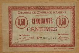 AMIENS ( 80  ) 50 Centimes Chambre De Commerce D'Amiens 1920  Cachet AMD - Cámara De Comercio