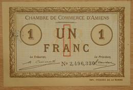 AMIENS ( 80  ) 1 Franc Chambre De Commerce D'Amiens 1920 Cachet AMD - Cámara De Comercio