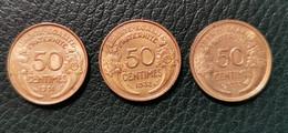 3 Pièces De 50 Centimes Morlon 1931-1932-1933 - K. 10 Francs