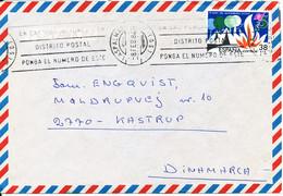 Spain Cover Sent To Denmark Las Palmas 8-2-1984 Single Franked - Luftpost