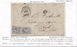REF2000/ TP 31(2) S/LAC AG BXL C.BXL 24/8/1870 + LOS PTS 60 2 En Bleu > Beek Limbourg NL - Postmarks - Points