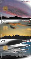 3-CARTES-PUCE-1997-SUISSE-SERIE 5/10/20CHF-NUAGES CIEL-TAXCARD-UtiliséTBE - Schweiz