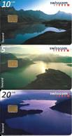 3-CARTES-PUCE-1997-SUISSE-SERIE 5/10/20CHF-LACS De MONTAGNE-TAXCARD-UtiliséTBE - Schweiz