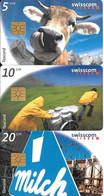 3-CARTES-PUCE-1998-SUISSE-SERIE 5/10/20CHF-Collecte Du LAIT-TAXCARD-UtiliséTBE - Schweiz