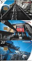 3-CARTES-PUCE-1998-SUISSE-SERIE 5/10/20CHF-Chemin De Fer/Feniculaire/Transport Par Cables-TAXCARD-UtiliséTBE - Schweiz