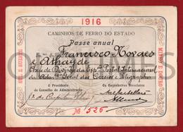 PORTUGAL - CAMINHOS DE FERRO DO ESTADO - PASSE ANUAL - 1916 - Season Ticket
