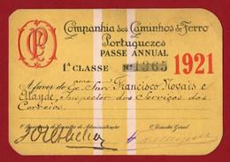 PORTUGAL - COMPANHIA DOS CAMINHOS DE FERRO PORTUGUESES - PASSE ANUAL - 1921 - Season Ticket