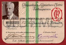 PORTUGAL - COMPANHIA DOS CAMINHOS DE FERRO PORTUGUESES - PASSE ANUAL - 1926 - Season Ticket