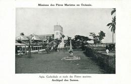 PC CPA SAMOA, PACIFIC, APIA, CATHÉDRALE ET ÉCOLE, Vintage Postcard (b19436) - Samoa