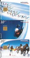 3-CARTES-PUCE-1998-SUISSE-SERIE 5/10/20CHF-SPORTS De NEIGE-TAXCARD-UtiliséTBE - Schweiz
