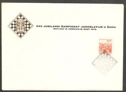 Yugoslavia 1975 Novi Sad - Chess HAND Cancel On Commemorative Envelope - Scacchi