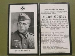 Sterbebild, WW2 Hans Kostler - 1939-45