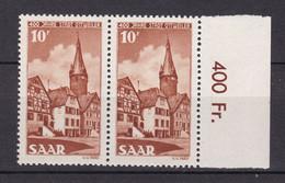 Saarland - 1950 - Michel Nr. 296 P OR Paar - Postfrisch - Unused Stamps