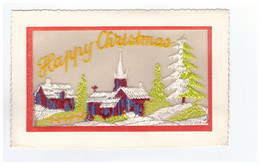 Carte Brodée Cpa Happy Christmas - Embroidered