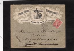 LSC 1906 -Enveloppe Illustrée- ROQUEFORT / Louis RIGAL -Convoyeur Millau à Béziers / Au Dos Facteur Boitier LEZAN (Gard) - 1877-1920: Semi-Moderne
