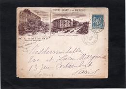LSC -Enveloppe Illustrée- NICE - HOTEL DE SUEDE & HOTEL DE BERNE à NICE - Cache Nice Gare Sur YT 90 - 1877-1920: Semi-Moderne