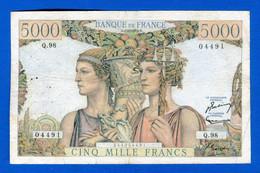 5000 Fr  Du  7/3/1952 - 5 000 F 1949-1957 ''Terre Et Mer''