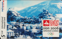 Switzerland: Swisscom International Prepaid - Sion 2006, Olympic Games Candidate - Schweiz