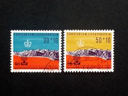 LIECHTENSTEIN MI-NR. 389-390 GESTEMPELT(USED) WELTAUSSTELLUNG BRÜSSEL 1958 MIT AUFDRUCK - Used Stamps