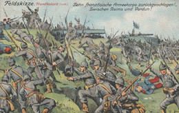 Militaire Guerre De 1914  Feldskizze Handkolorit - Weltkrieg 1914-18