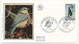 ANDORRE - 2 Enveloppes FDC Soie => Protection Nature - Mésange Bleue / Pic Epeichette - 27/10/1973 - Andorre La Vieille - FDC