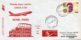 Rome Paris - 1er Vol 1980 Airbus A 300 - Erstflug First Flight - Primo Volo - Roma - Air France - Affrancature Meccaniche Rosse (EMA)