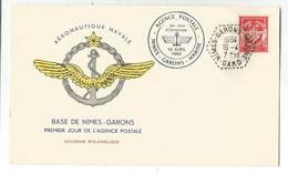 FM ROUGE LETTRE ENTETE AERONAUTIQUE NAVALE BASE DE NIMES GARONS PREMIER JOUR AGENCE POSTALE 16.4.1964 GARD - Maritieme Post