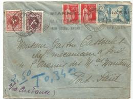 N° 336+283X2 LETTRE COVER AVION VIA AIR FRANCE BIARRITS 1937 TO EGYPTE TAXE 10M+8M PORT SAID - 1921-1960: Moderne