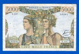 5.000 Fr  Du  2 / 1 /1953 - 5 000 F 1949-1957 ''Terre Et Mer''