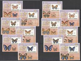 NW0266 IMPERF,PERF 2009 COMOROS FAUNA BUTTERFLIES PAPILLONS 12BL MNH - Mariposas